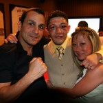 Dominic Pesoli (left) and Tina Park with David Diaz at the after party