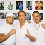 Dr. James Stoxen DC posing with 'Macho' Miguel Hernandez (left) and Al 'Speedy' Gonzalez (right)