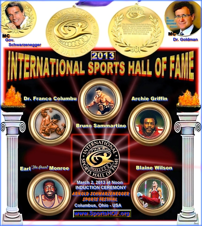 International Sports Hall of Fame Induction Dr Robert Goldman Governor Arnold Schwarzenegger