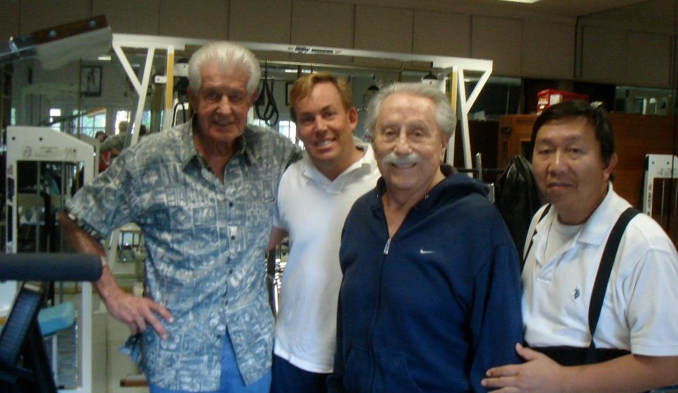 Dr Bob Delmonteque,Dr James Stoxen DC,Joe Weider and Magnum (assistant)